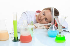Woman chemist and chemicals in flasks, isolated on Stock Photos