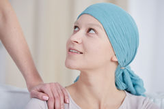 Woman after chemotherapy wearing headscarf Royalty Free Stock Photos