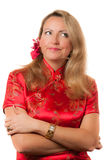 Woman in cheongsam with crossed hands Royalty Free Stock Image