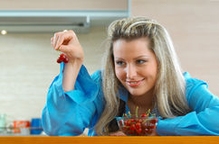 Woman with cherries Royalty Free Stock Photos
