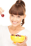 Woman with cherries Royalty Free Stock Photo