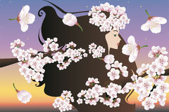 Woman with Cherry Blossoms Royalty Free Stock Photo