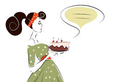 Woman with a Cherry Cake. Retro Style Woman with a Cherry Cake and Text Bubble royalty free illustration