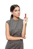 Woman with chess figure queen tactics Royalty Free Stock Image