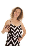 Woman chevron dress football smile Stock Photos