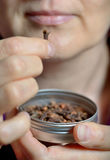 Woman chew dried clove spice. For fresh breath Royalty Free Stock Images