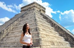 woman in Chichen Itza Mexico stock image
