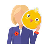 Woman with Chicken Mask Flat Design Vector Royalty Free Stock Photography