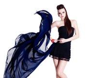 Woman with chiffon. Young beautiful fashion glamour woman with chiffon - white background Royalty Free Stock Photo
