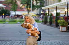 Woman with chihuahua. Royalty Free Stock Image