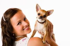 Woman and chihuahua Stock Image