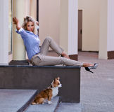 Woman with chihuahua in old city Royalty Free Stock Image