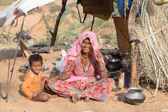 Woman and child at the attended the annual Pushkar Camel Mela. India Royalty Free Stock Photo