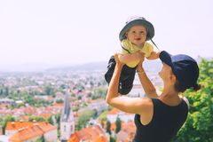 Woman and child on background of Ljubljana City, Slovenia. Trave Stock Photography