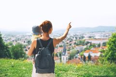 Woman and child on background of Ljubljana City, Slovenia. Trave Royalty Free Stock Images