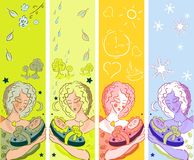 Woman & child banners. Nature, tree, sun, day & night, mother health and beauty stock illustration