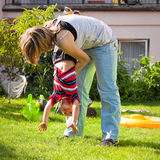 Woman and child boy having fun outdoors Royalty Free Stock Photo