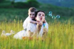 Woman child bubble Royalty Free Stock Image