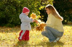 Woman and child collect autumn sheets Royalty Free Stock Image