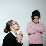 Woman child conflict dipute problems Stock Image