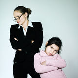 Woman child conflict dipute problems Stock Photos