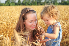 Woman with child in field. Of wheat royalty free stock image