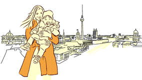 Woman with Child in Front of Berlin Panorama View. Royalty Free Stock Photography