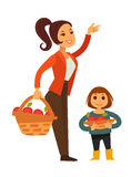 Woman and child gather apple fruit harvest in basket vector flat icons Royalty Free Stock Images