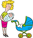 Woman with child. The illustration shows a young woman with a small child in her arms, she stands near the buggy Stock Photo