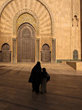 Woman and Child By Ornate Mosque Door Royalty Free Stock Image