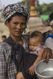 Woman with Child. Portrait of young Woman with child in Old Bagan in Myanmar (Burma Royalty Free Stock Photo