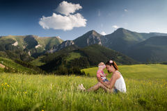 Woman and child. Relationship between mother and child Stock Image