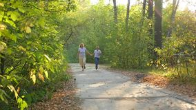 Woman with a child running along a path in a park holding hands. Slowmotion stock video footage