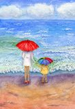Woman with child by sea. Woman with a child by the sea, sea waves and clouds on the horizon. Hand-painted watercolor illustration and paper texture stock illustration