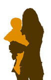 Woman with a child-silhouettes. Brown and orange silhouette of a woman holding a small child Stock Photo