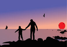 Woman and child silhouettes Royalty Free Stock Photo