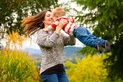 Woman and Child Spinning Royalty Free Stock Image