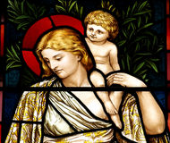 Woman with child in stained glass Royalty Free Stock Photo