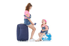Woman and child with a suitcase Royalty Free Stock Photography