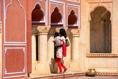 Woman with a child walking at Chandra Mahal in Jaipur City Palace Royalty Free Stock Photography
