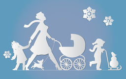 Woman with children and dogs. Super mother walks with children. Stock Photo