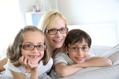Portrait of mother and kids Royalty Free Stock Image