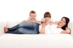 Woman and children playing Stock Image
