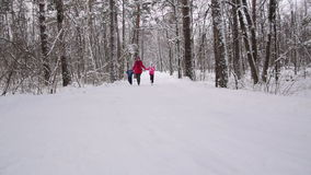 Woman and children run in the winter forest. Slow motion. Woman and two his children hold hands and run in the winter forest. Slow motion stock footage