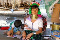Woman with children in the tribe Karen (Pattaya) Royalty Free Stock Image