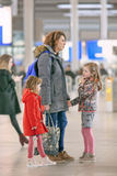 Woman with children at Utrecht Central Railway Station, Netherlands Royalty Free Stock Image