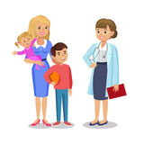 Woman with children visit doctor. Mother and her babies Royalty Free Stock Image