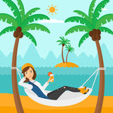 Woman chilling in hammock. Stock Images