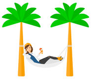 Woman chilling in hammock Royalty Free Stock Images