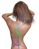 Woman with Chinese Dragon Tattoo Royalty Free Stock Photography